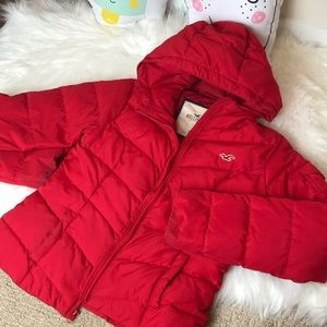 Hollister red down jacket